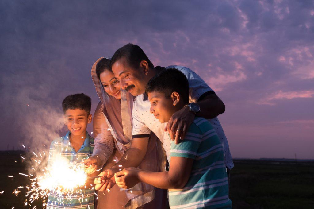 Family celebrating Diwali Festival in the USA