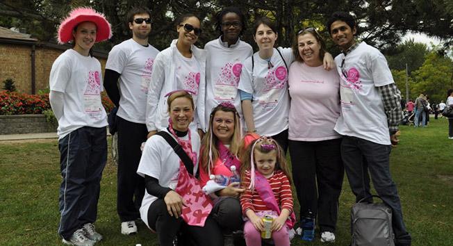 Volunteers at Durham College raising money for breast cancer