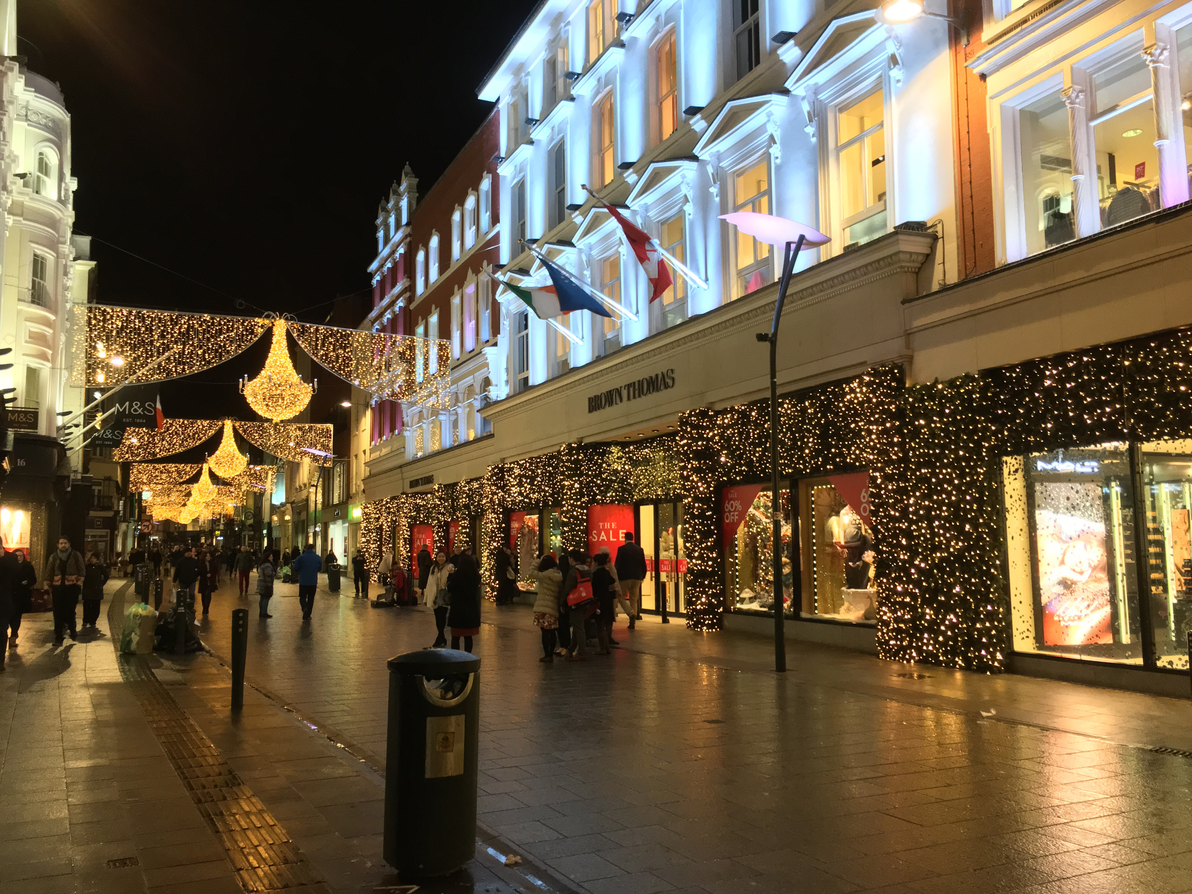 Christmas decorations at Grafton Street