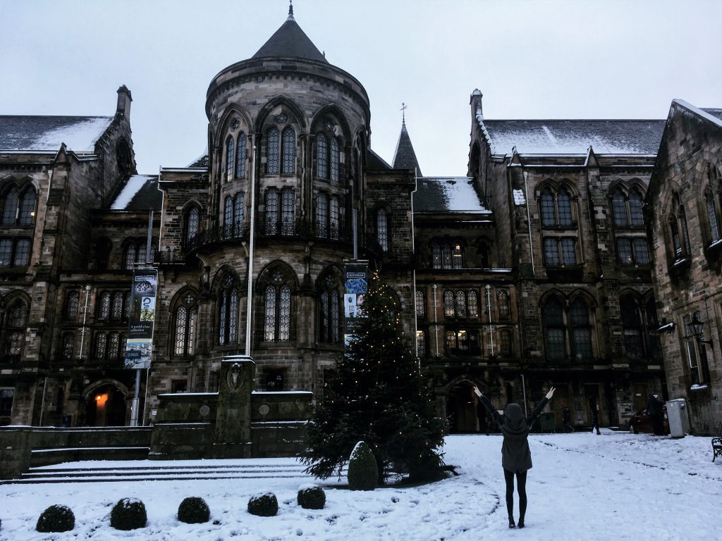 Veronika loving the snow in Glasgow